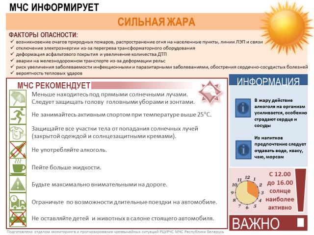 """МЧС информирует """"Сильная жара""""."""